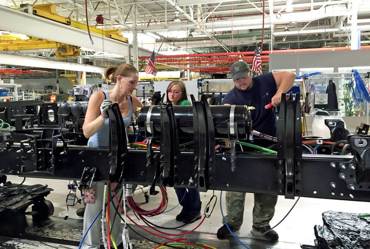 Workers assemble Volvo trucks at the NRV plant in this HDT file photo from 2016. - Photo: Deborah Lockridge