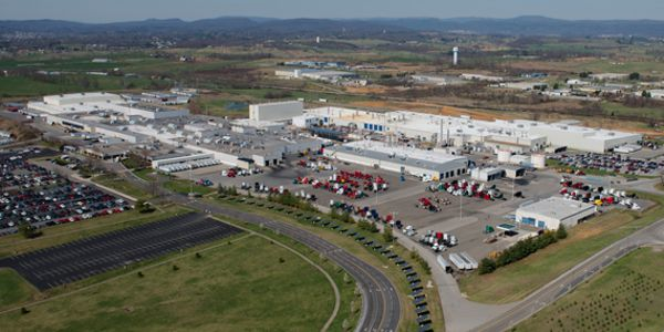Aerial view of Volvo Trucks North America's New River Valley truck assembly plant, which has...