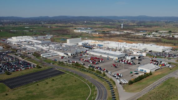 Aerial view of Volvo Trucks North America's New River Valley truck assembly plant, which has been the site of several UAW strikes since April. - Photo: Volvo Trucks North America