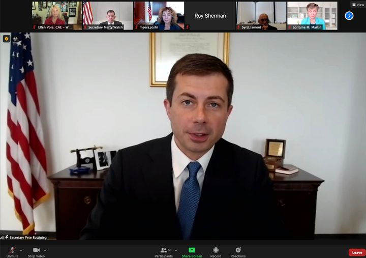 """""""Our economy is getting back on its feet, but the pandemic has exposed and exacerbated longstanding challenges in our supply chain — including truck driver retention,""""said Transportation Secretary Pete Buttigieg. - Screenshot courtesy Women in Trucking"""