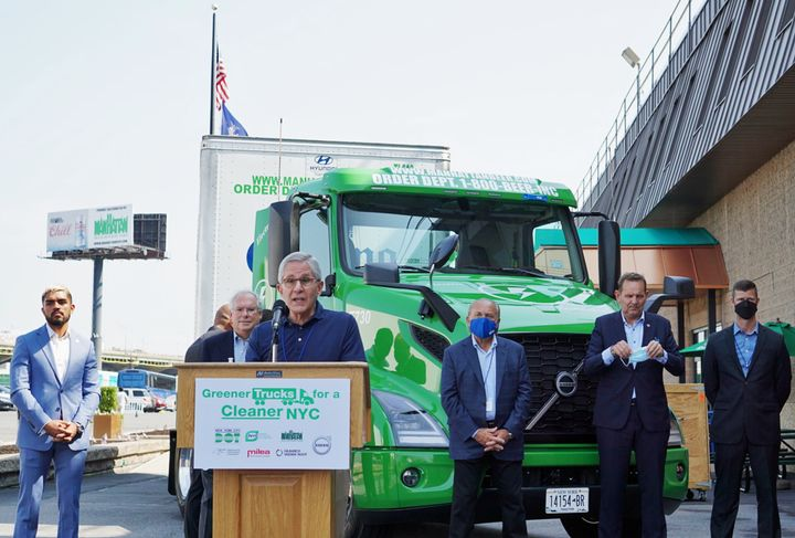 """""""This certification makes us ready to support and drive the future of clean transportation in New York,"""" said Milea President Barry Milea during a press event in New York City. - Photo: Vesna Brajkovic"""