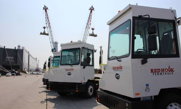 The BYD model 8Y yard tractors being deployed by Red Hook Container Terminals can operate continuously for 12 hours before recharging. - Photo: Red Hook