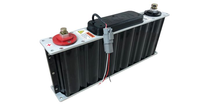Supercapacitors can quickly charge and discharge at higher rates than lithium-ion batteries, but they don't retain high energy levels or require a liquid cooling system. - Photo: Eaton