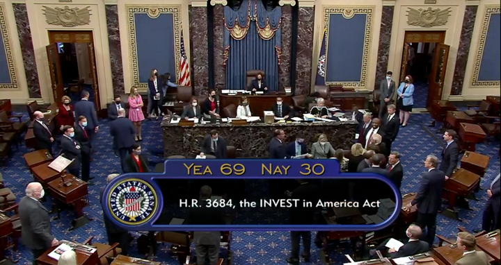 A bipartisan infrastructure bill passed the senate by 69-31. - Photo: C-Span screen capture