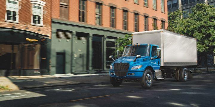 Navistar's fully-electric, medium-duty International eMV Series trucks are in production and ready to order. - Photo: Navistar