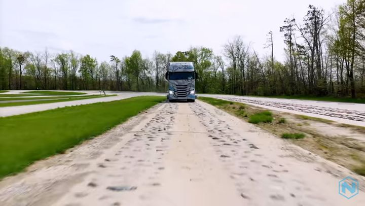 Proving ground testing includes tough challenges such as cobblestones. - Photo: Screen capture of Nikola video