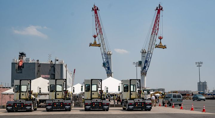 Ten battery-electric yard tractors are being used to move cargo containers at the Red Hook Marine Terminal in Port Newark. - Photo: Red Hook