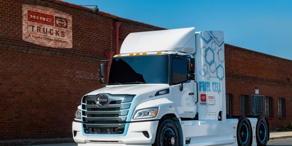 Hino collaborated with Toyota to develop this hydrogen fuel-cell-electric version of its Class 8...