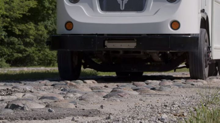 Cobblestones are part of the durability testing the Xos van went through. - Screen capture from Xos video