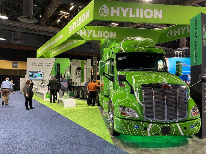 Hyliion's new Hypertruck ERX on display at ACT Expo. - Photo: Jack Roberts