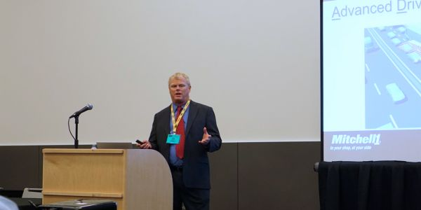 Ben Johnson, director of product management, presents the new updates to industry pressduring...