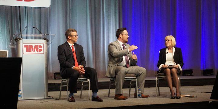 Lee Demis, Austin Crayne and Peggy Fisher discuss tire sensors at the 2021 TMC Fall Meeting. - Photo: Vesna Brajkovic