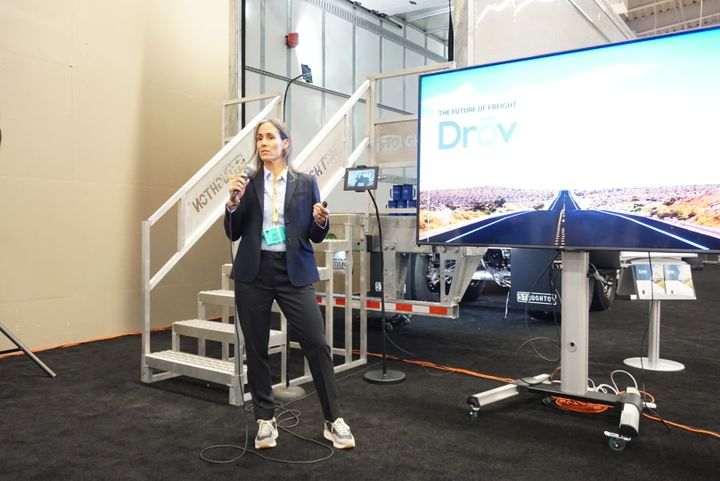 """""""Our goal at Drov is to continue to innovate and continue to integrate smart technology that's available on the trailer and in the industry, and to continue to be an aggregator, so that collectively we can provide the best solution for the fleet,"""" Drov CEO Lisa Mullen told industry press at the TMC Fall Meeting. - Photo: Vesna Brajkovic"""