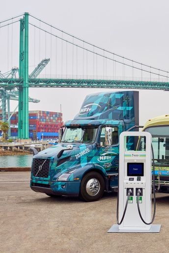 NFI will be putting 30 Volvo VNR Electric (shown) and 30 Freightliner eCascadia battery-electric trucks in service in southern California. - Photo: Electrify America