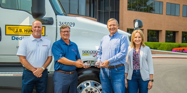 From left: Richard Mudd, general manager of Hendrickson Truck Commercial Vehicle Systems; Gary Gerstenslager, Hendrickson president and CEO; Nick Hobbs, J.B. Hunt COO and and president of contract services; and Shelley Simpson, J.B. Hunt chief commercial officer. - Photo: Hendrickson