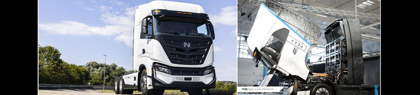 The Nikola Tre battery-electric tractor is based on the Iveco S-WAY cabover truck platform with...