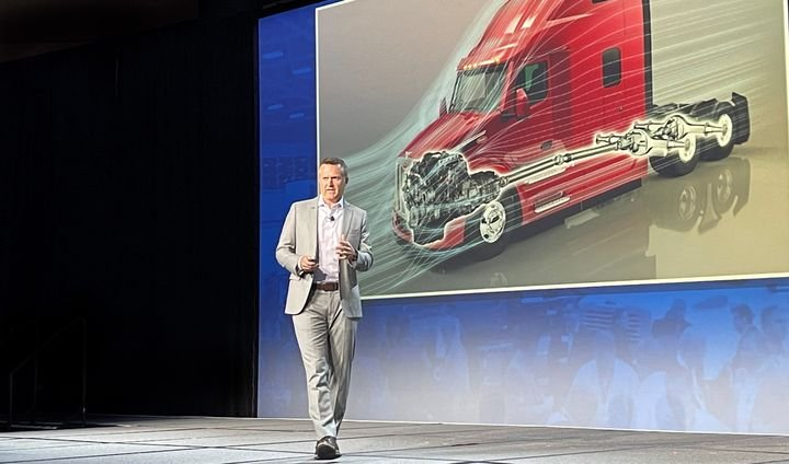 At the ACT Expo in Long Beach, California, Peterbilt General Chairman Jason Skoog mapped out four decisive moves he'd like to see happen to accelerate electric truck sales in North America. - Photo: Jack Roberts
