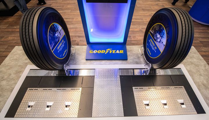 With Goodyear CheckPoint installed at a fleet yard entrance, the in-ground device automatically scans passing trucks and triggers alerts to fleet maintenance if there are any immediate tire issues that require attention - Photo: Goodyear