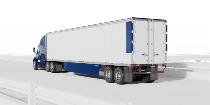 Transtex's TopKit+ redirects air towards the rear of the trailer to reduce drag on dry vans, reefers and straight trucks with swing or rollup doors. - Photo: Transtex