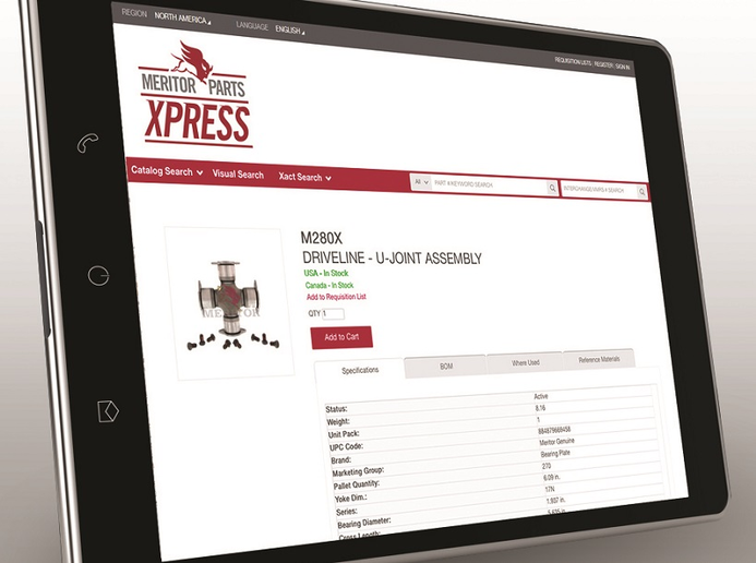 Meritor has added more features and improved search functionality for its aftermarket parts website MeritorPartsXpress.com.