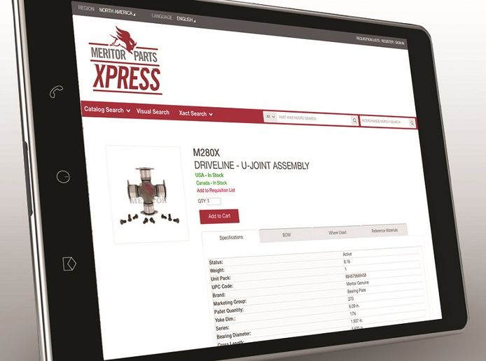 Meritor has added more features and improved search functionality for its aftermarket parts website MeritorPartsXpress.com.  - Image courtesy Meritor
