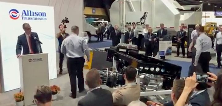 Allison officials unveiled the AXE electrified axle powertrain for trucks at ACT Expo April 24.  - Screenshot, Allision YouTube video