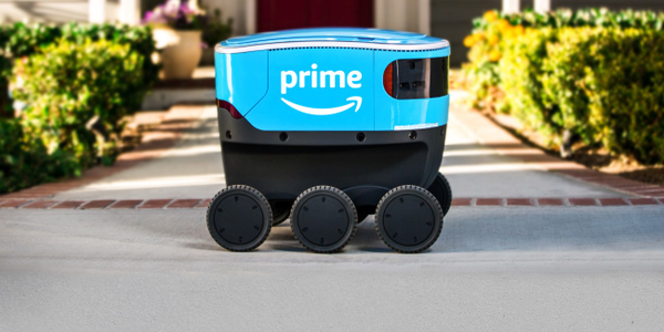The Amazon Scout is a cooler-sized, all-electric, six-wheeled delivery robot undergoing...