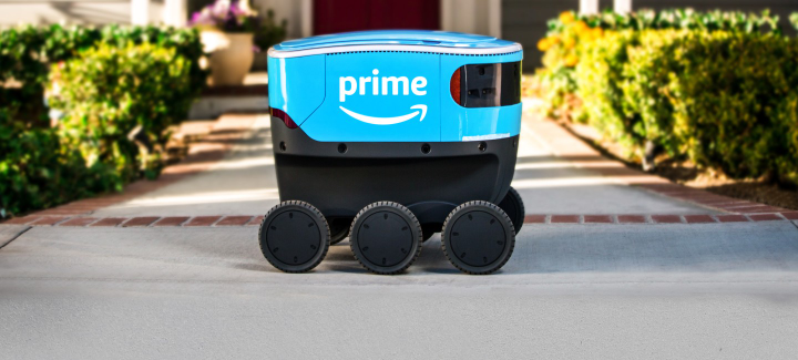 The Amazon Scout is a cooler-sized, all-electric, six-wheeled delivery robot undergoing real-world testing in Washington state now.