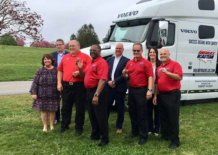 In Newport, R.I., ATA officials and Volvo executives celebrate presentation of a new Volvo tractor with some of the America's Road Team captains who will drive it to events to help promote a positive image of the trucking industry. Photo: David Cullen