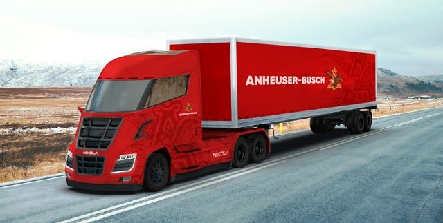 Nikola's hydrogen-electric truck technology got a major endorsement from Anheuser-Busch in the form of an order for up to 800 trucks. Illustration: Nikola
