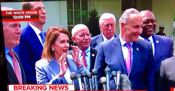 House Speaker Nancy Pelosi and Senate Minority Leader Chuck Schumer tell reporters that their meeting with President Trump resulted in a plan to push for a $2 trillion infrastructure package.