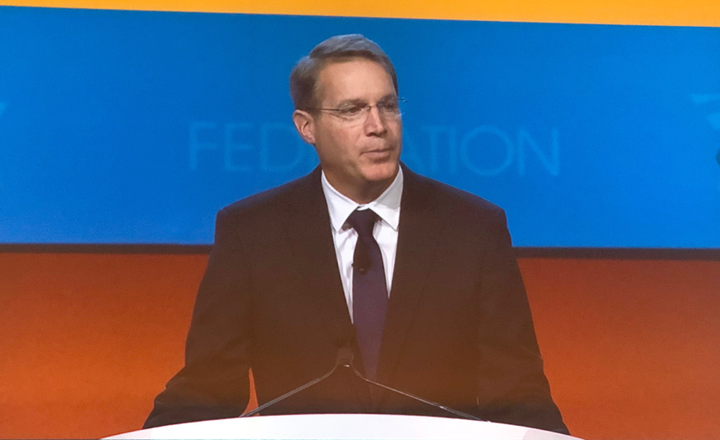American Trucking Associations president and CEO Chris Spear speaks to attendees at ATA's 2018 Annual Meeting in Austin, Texas, on Oct. 29, 2018.