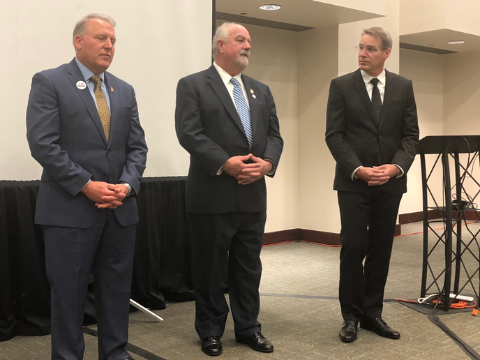 Barry Pottle (center) is announced as ATA's incoming chairman by past chairman Dave Manning (left) and ATA Presiden and CEO Chris Spear (right).  - Photo: David Cullen