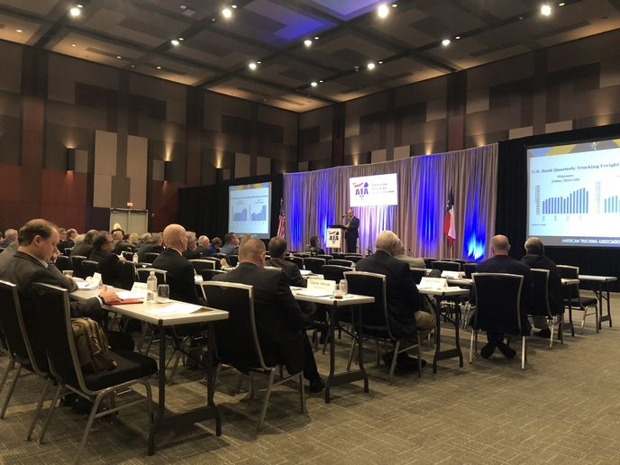 American Trucking Associations Chief Economist Bob Costello offered an economic update as part of the board of directors meeting at the Management Conference and Exhibition.  - Photo by John G. Smith (courtesy Today's Trucking)