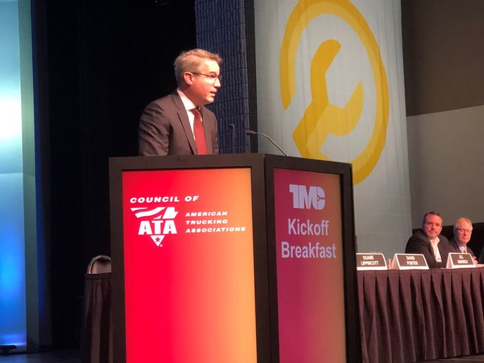 """Speaking at the TMC meeting in Atlanta, ATA chief Chris Spear made a pitch for """"working to bringmore minorities — African Americas, women and Hispanics — into trucking.""""  - Photo: Jack Roberts"""