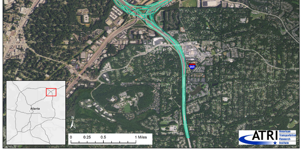 The intersection of Interstate 285 and Interstate 85 in northern DeKalb County, Georgia, chosen...