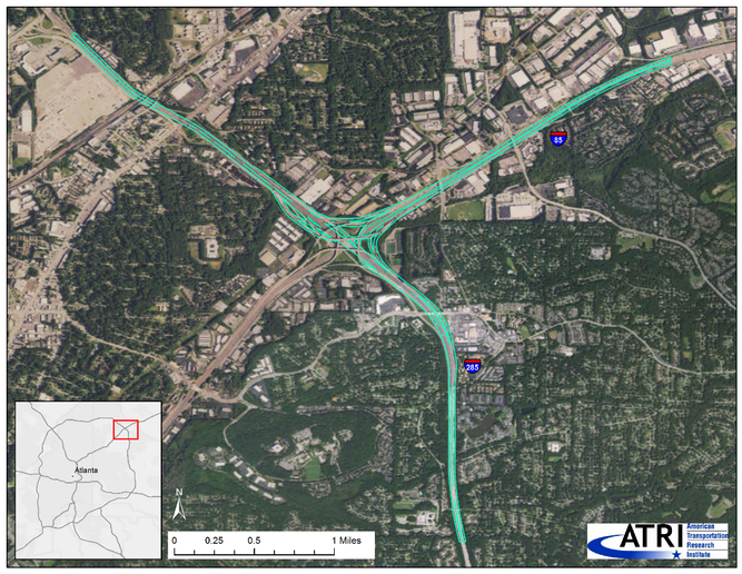 The intersection of Interstate 285 and Interstate 85 in northern DeKalb County, Georgia, chosen by ATRI for its recent traffic study,has a reputation for congestion that reaches far beyond the Peach State.  - Image: ATRI