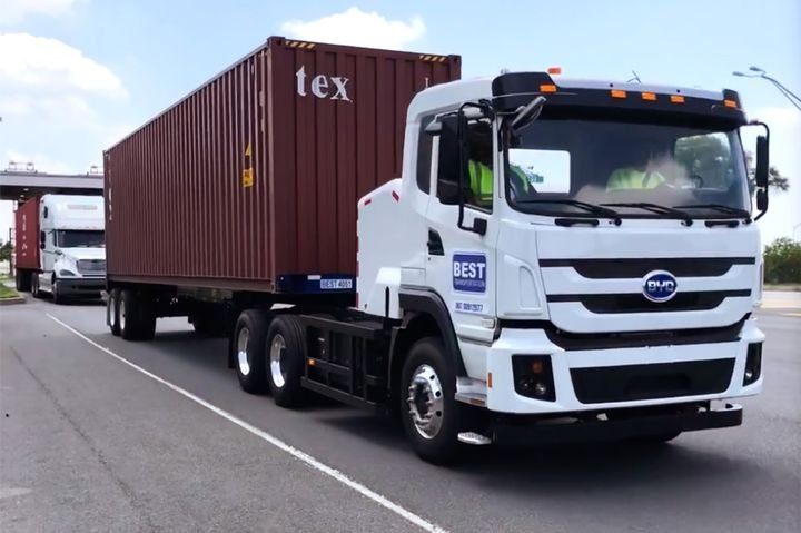 In July, the Port Newark, New Jersey-based Best Transportation added a fully electric Class A tractor to its drayage arsenal.  - Photo: Best Transportation