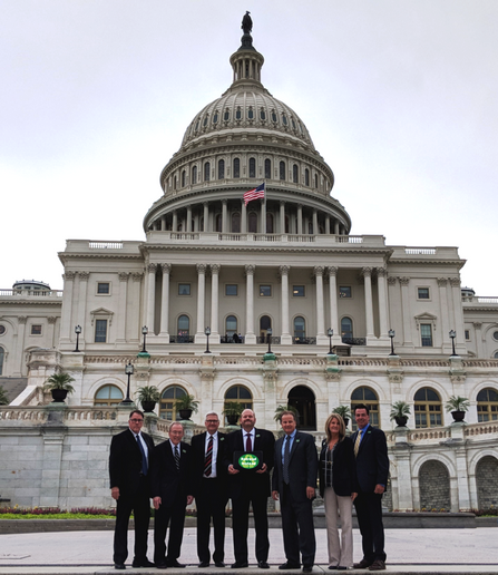 Pictured on Capitol Hill from left to right are Jeffrey Parks-California /RTA, Terry Westhafer-Virginia/Central Tire, Bob Majewski-Kentucky/Sumerel Tire, Ron Elliott-Tennessee/Marangoni Tread N.A., Dexter Matthews-North Carolina/Liberty Tire Recycling, Gail Walker-New York/Premier Rubber Compan,y and Gene Walker-New York/Premier Rubber Company. - Photo courtesy Retread Instead