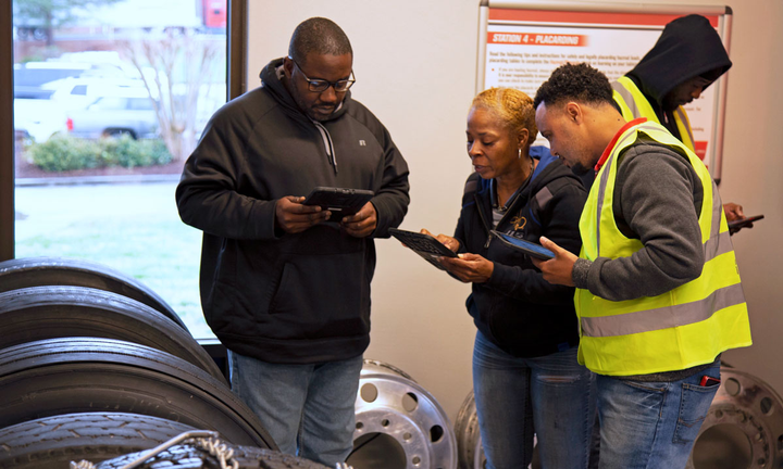 The commercial vehicle lab teaches drivers how to keep an eye out for potential problems on the road.