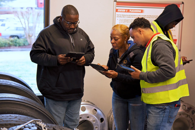 The commercial vehicle lab teaches drivers how to keep an eye out for potential problems on the...