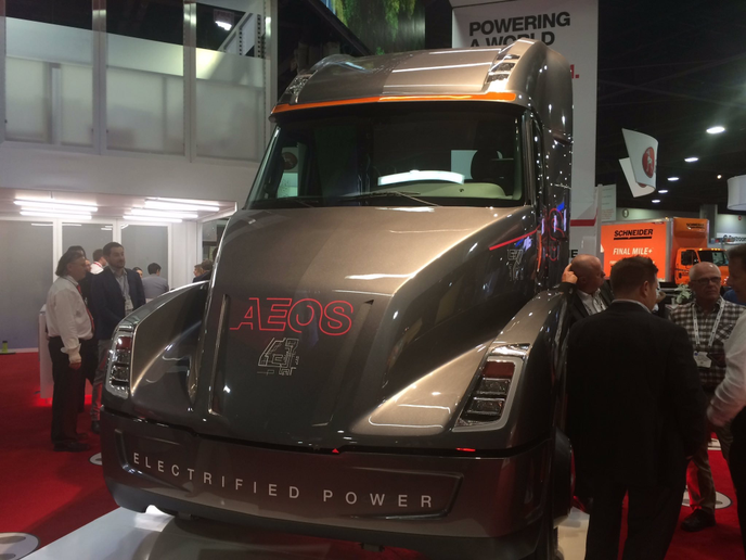 Electric trucks like the Cummins Aeos prototype (shown here at the NACV Show in 2018) show promise, but experts say diesel and gasoline will remain the primary fleet fuels for the foreseeable future.