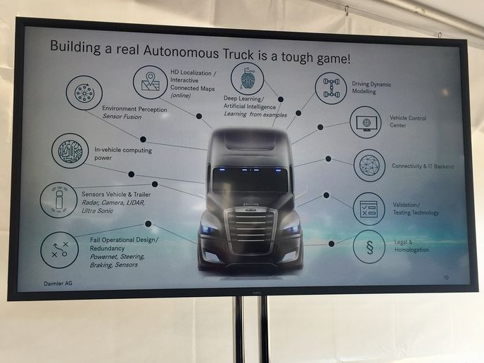 At its Portland, Ore., headquarters Daimler laid out plans for Level 2 and Level 4 automated truck technology.  - Photo: Deborah Lockridge