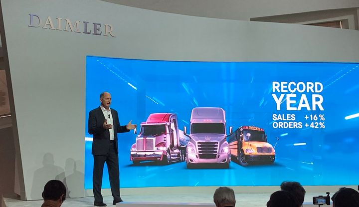 Daimler Trucks North American CEO Roger Nielsen talks truck sales at CES.  - Photo by Jim Park