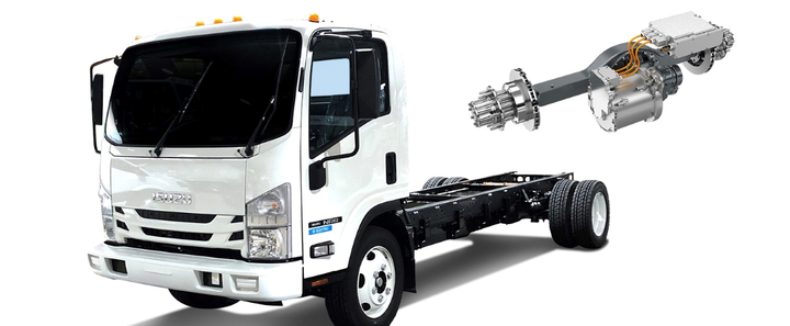 Along with launching the new TM4 Sumo LD direct-drive electric powertrain (see photo below), Dana announced it is working separately with Nordresa and with Motiv Power Systems to integrate the Spicer Electrified eS9000r e-Axle into the Isuzu N-Series chassis and the Ford F-550 chassis, respectively.