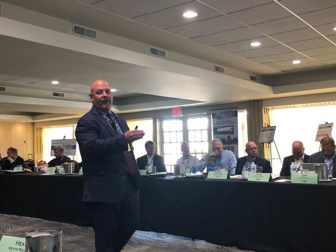 Dave Heller, vice president, legislative affairs, Truckload Carriers Association, speaks to The Machinery Haulers Association at its annual meeting in Fontana, Wisconsin, on July 25, 2019.