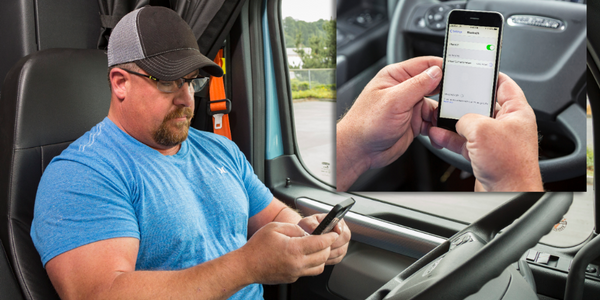 A driver can link to the Detroit Connect platform from an in-cab mobile device.