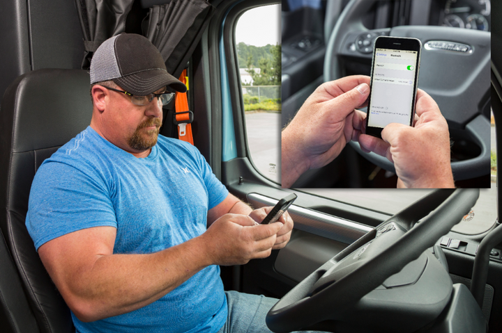 A driver can link to the Detroit Connect platform from an in-cab mobile device.  - Photo courtesy Daimler Trucks