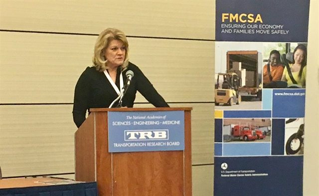 Cathy Gautreaux speaking at an FMCSA meeting in Washington in January, 2018.