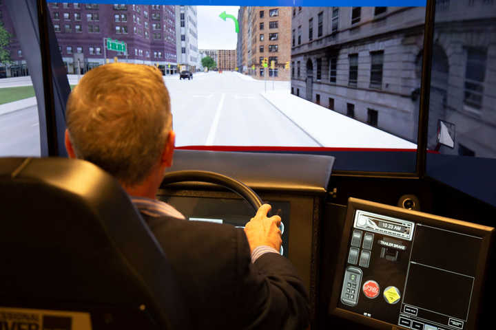 U.S. Xpress uses a driving simulator to train drivers.
